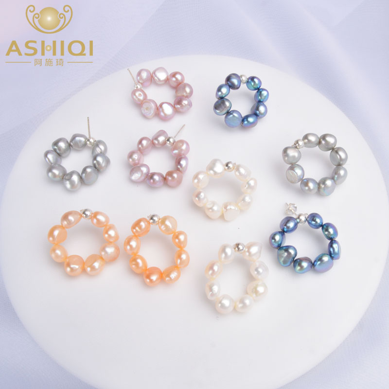 ASHIQI Natural Freshwater Pearl Stud Earrings For Women 925 Sterling Silver Circle Jewelry