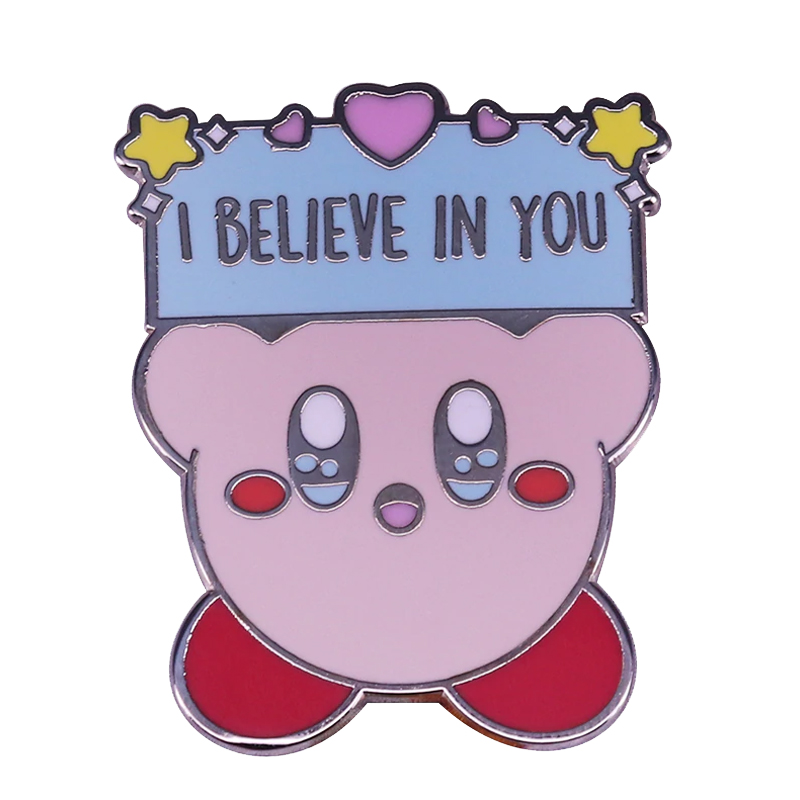 I Believe In You Kirby Enamel Pin Stars Pink Heart Brooch Hope Inspirational Pastel Colour badge(China)