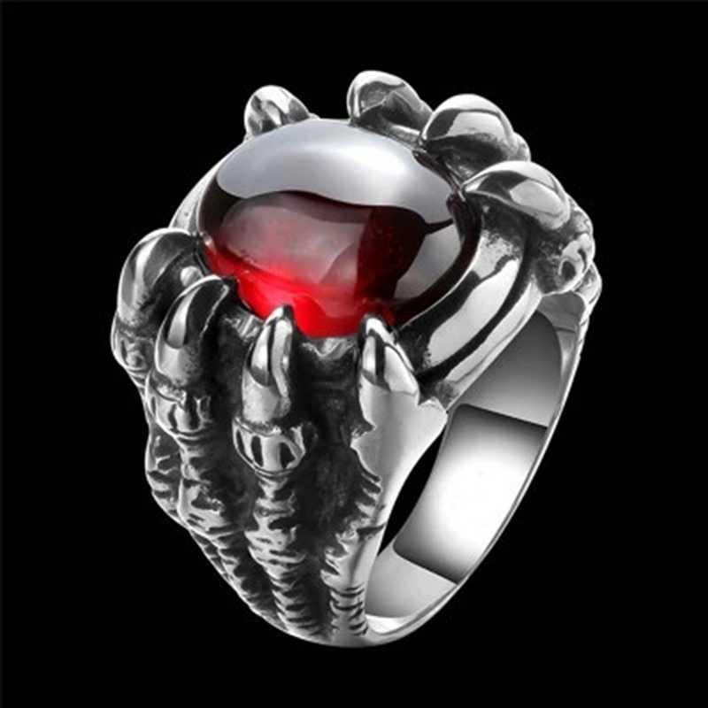 Dragon griffe rétro Punk Goth grande pierre rouge noire hommes alliage fonte anneau gothique Punk hommes Bijoux hommes grande pierre bague gemme rouge