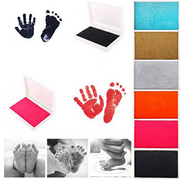 baby handprint footprint frame newborn footprint kit footprint child special gift for births and baptisms safe clean non toxic 5Colors Baby Care Non-Toxic Handprint Kit Footprint Imprint Souvenirs Newborn Cushion Ink Footprint Infant Toys Baby Stuff Gift
