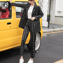 2020 Spring New Women's Office Lady Plaid Suits Notched Blazer And Pants Single-