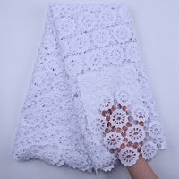 Pure White Fashion African Lace Fabric 2020 High Quality Guipure Cord Water Soluble Lace Embroidery With Punch For Wedding S1832