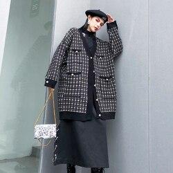 [EAM] black plaid big size Knitting Cardigan Sweater Loose Fit V-Neck Long Sleeve Women New Fashion Autumn Winter 2019 1K356 6
