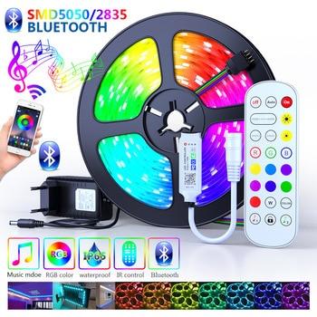 25M 30M Bluetooth Led Strips Lights 5050 Waterproof DC 12V RGB Flexible Tape Led Ribbon 5M 10M 15M 20M With Phone Bluetooth APP 1
