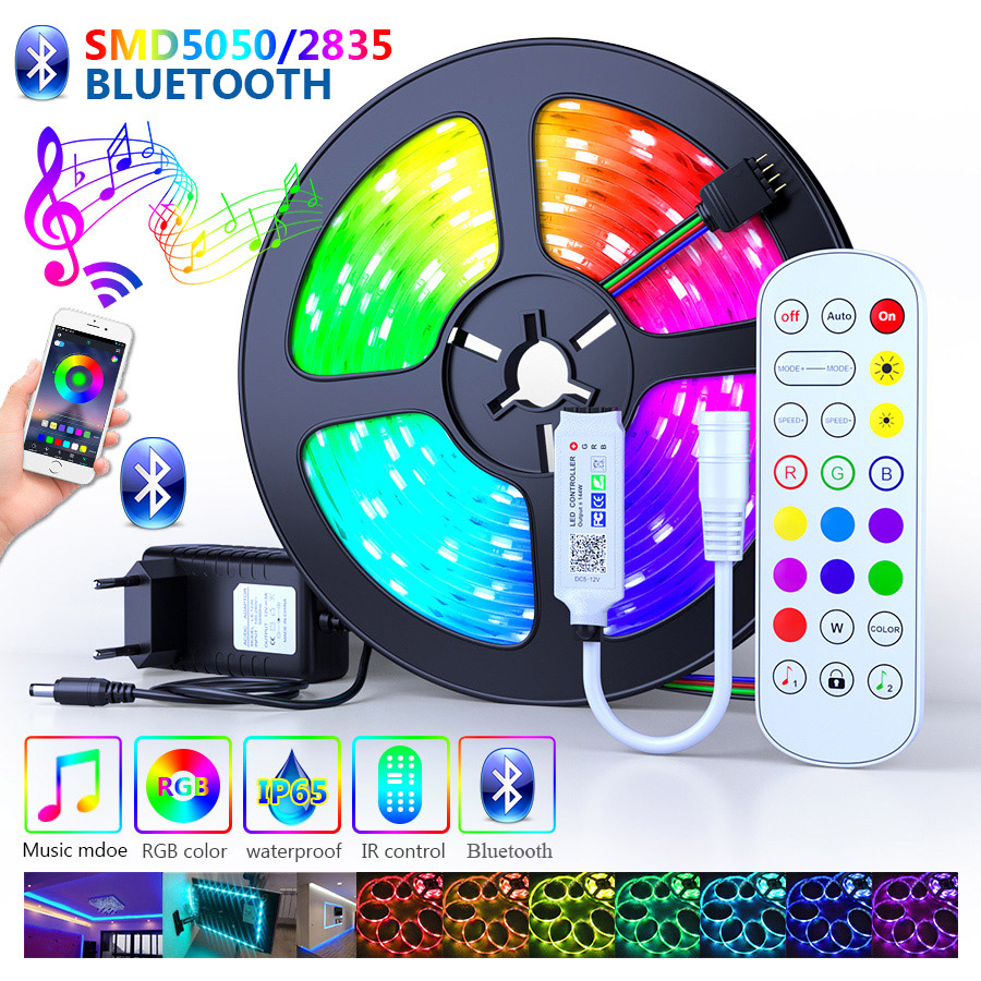 25M 30M Bluetooth Led Strips Lights 5050 Waterproof 2835 WIFI RGB Flexible Tape Led Ribbon 5M 10M 15M 20M With Phone APP Control
