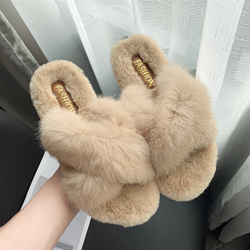 2019 Winter Women Home Slippers With Faux Fur Fashion Warm Shoes Woman Slip On Flats Female Slides Black Off White Slipper
