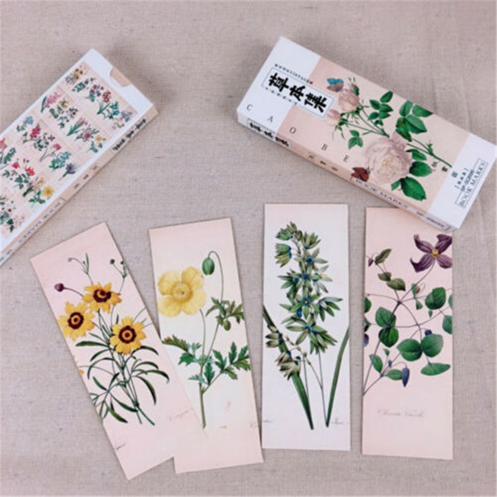 32Pcs/Set Plant Leaves Flower Bookmarks Paper Book Markers Reading Accessories School Office Supplies