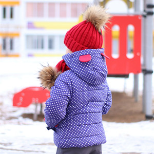 Image 2 - Girls  Winter Coat Hooded Polka Dot animal design Puffer Jacket kid girl down jacket wintercoat girl  for toddlers children D20