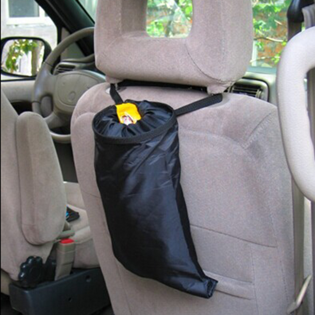 Portable Car Trash Bag Removable Storage Pockets Car Garbage Bag Hanging Detachable Garbage Bag For Traveling Home Use