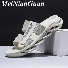 Light Soft Men's Home Slippers Outdoor Wild Men Shoes Youth White Flat Sandals C