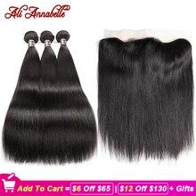 Ali annabelle feixes de cabelo reto com frontal feixes de cabelo humano com frontal orelha a orelha fechamento tecer cabelo brasileiro feixes