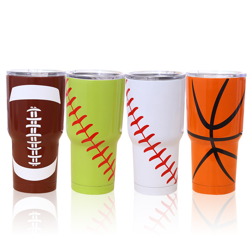 <font><b>20OZ</b></font> 30OZ Cerative Baseball Football Tumbler Cup Vacuum Insulation Beer Wine <font><b>Mug</b></font> Stainless Steel <font><b>Mug</b></font> Coffee Cup for Your Famliy image
