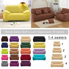 universal sectional slipcover 1 2 3 4 seater spandex sofa cover for living room stretchable sofa cover l shape home decoration Universal Solid Color Elastic Sofa Cover 1/2/3/4 Seater For Living Room Sofa Slipcover Couch Cover Sectional Corner Slipcover