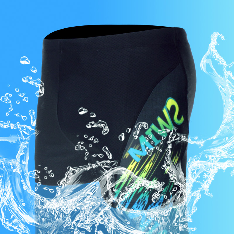 2019 Qian Shuo Xin-Fashion & Sports Boxer Adult Plus-sized Swimming Trunks Men High-waisted Conservative Swimwear