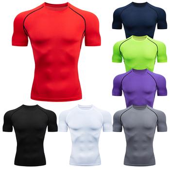 Męskie koszulki do biegania szybka kompresja na sucho t-shirty sportowe Fitness Gym koszulki do biegania koszulki męska koszulka piłkarska odzież sportowa czarna tanie i dobre opinie DNKUMUS Wiosna Lato AUTUMN spandex Pasuje prawda na wymiar weź swój normalny rozmiar O-neck Black White Red Blue Purple Gray Green