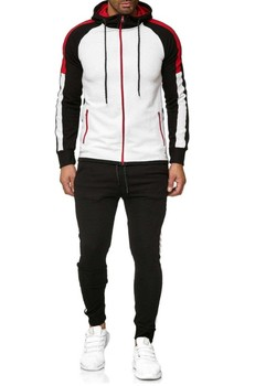 Men's Casual Sports Suit Stripes Matching Color Fashion Sports Suit fashion stripes and color matching design money clip for men