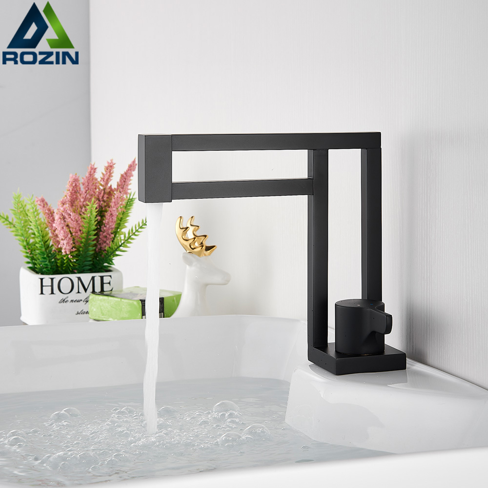 Modern Basin Faucets Black Sink Mixer Taps Brass Bathroom Taps Square Vessel Sink Faucet Black Basin Mixer Cold Hot Water 1