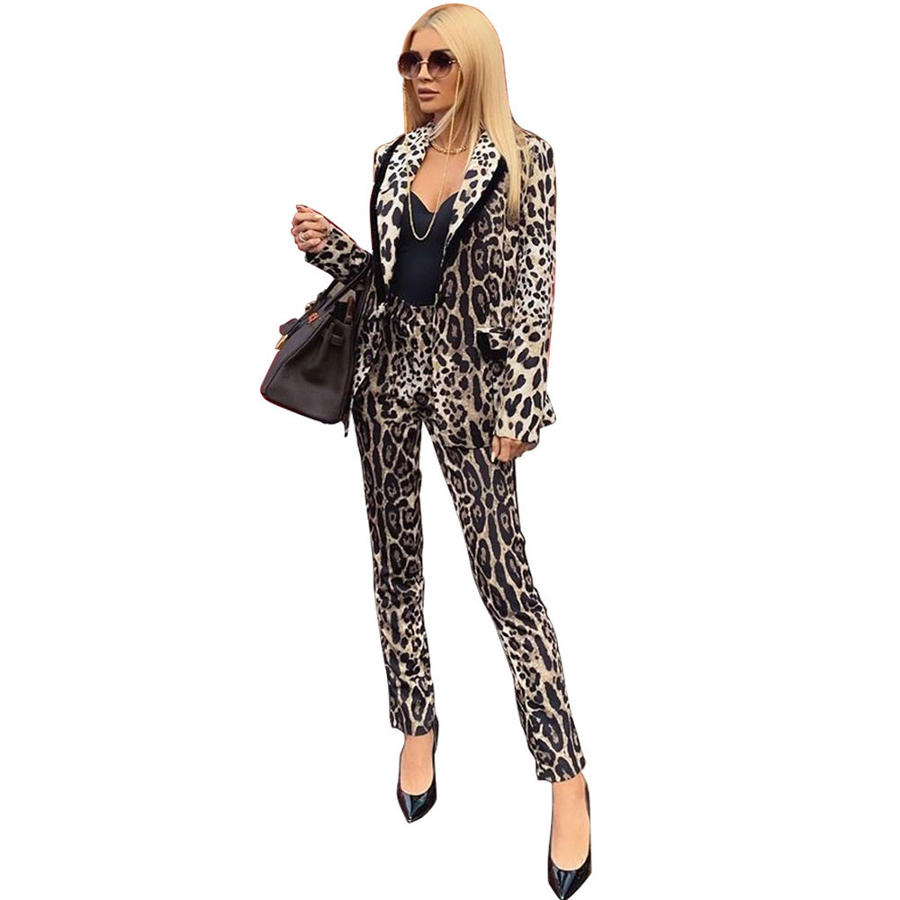 High Street Leopard Blazer Set 2 Piece Outfits Women Spring Winter Work Wear Blazer Coat And Pants Elegant Office Business Suit