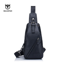 BULLCAPTAIN erkek göğüs çantası rahat postacı çantası hakiki deri erkek Crossbody çantaları çok fonksiyonlu cep telefonu fermuarlı çanta