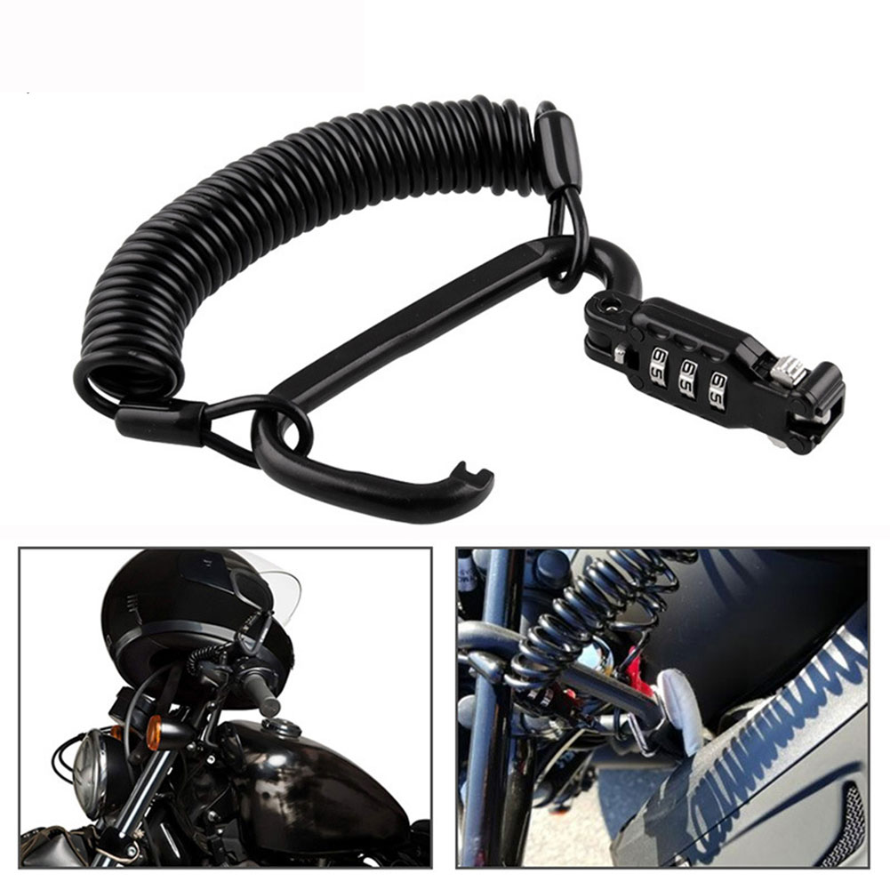 Anti Theft Universal Digit Combination Motorcycle Helmet Lock Carabiner Cycling Multifunction Spring Cable Portable Accessories