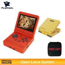 Powkiddy v90 3-Polegada ips tela flip handheld console duplo sistema aberto game console 16 simuladores retro ps1 crianças presente 3d novo jogo