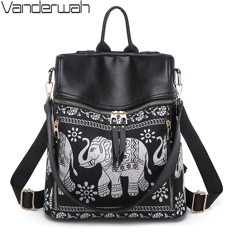 New Fashion Elephant Print Women Bags High Quality Waterproof Leather Backpack Multifunction Large Capacity Ladies Shoulder Bag
