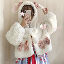 Lolita Mori Girl cute furry coat Lolita rabbit ears warm short jacket Kawaii Loli Tea Party sweet student jacket(China)