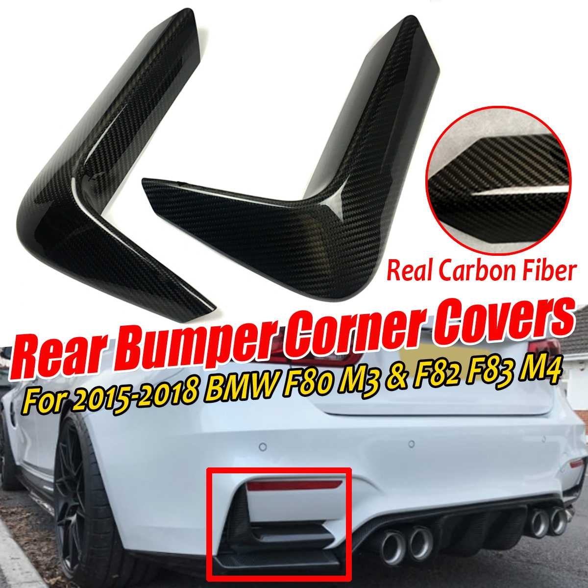 A Pair Real Carbon Fiber Car Rear Bumper Splitter Lip Guard Spoiler Corner Valance Covers ForBMW F80 M3 F82 F83 M4 2015-2018 image