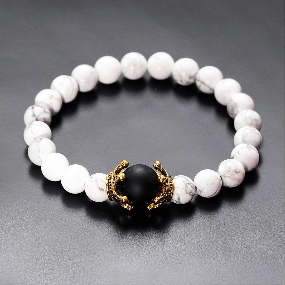 Charm Bracelet for Men Fashion Luxury Antique crown High quality Tiger eye stone bead Bracelets Jewelry Male Pulseira bileklik 5