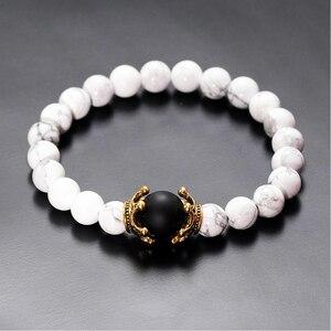 Image 5 - Charme Armband für Männer Mode Luxus Antike crown Hohe qualität Tiger eye stein perlen Armbänder Schmuck Männlichen Pulseira bileklik