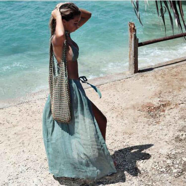 เซ็กซี่ผู้หญิงบิกินี่ COVER UP 2020 ชุดว่ายน้ำฤดูร้อนชุดว่ายน้ำ SHEER Beach Maxi กระโปรงชายหาด Sundress ฤดูร้อนสุภาพสตรีกระโปรง