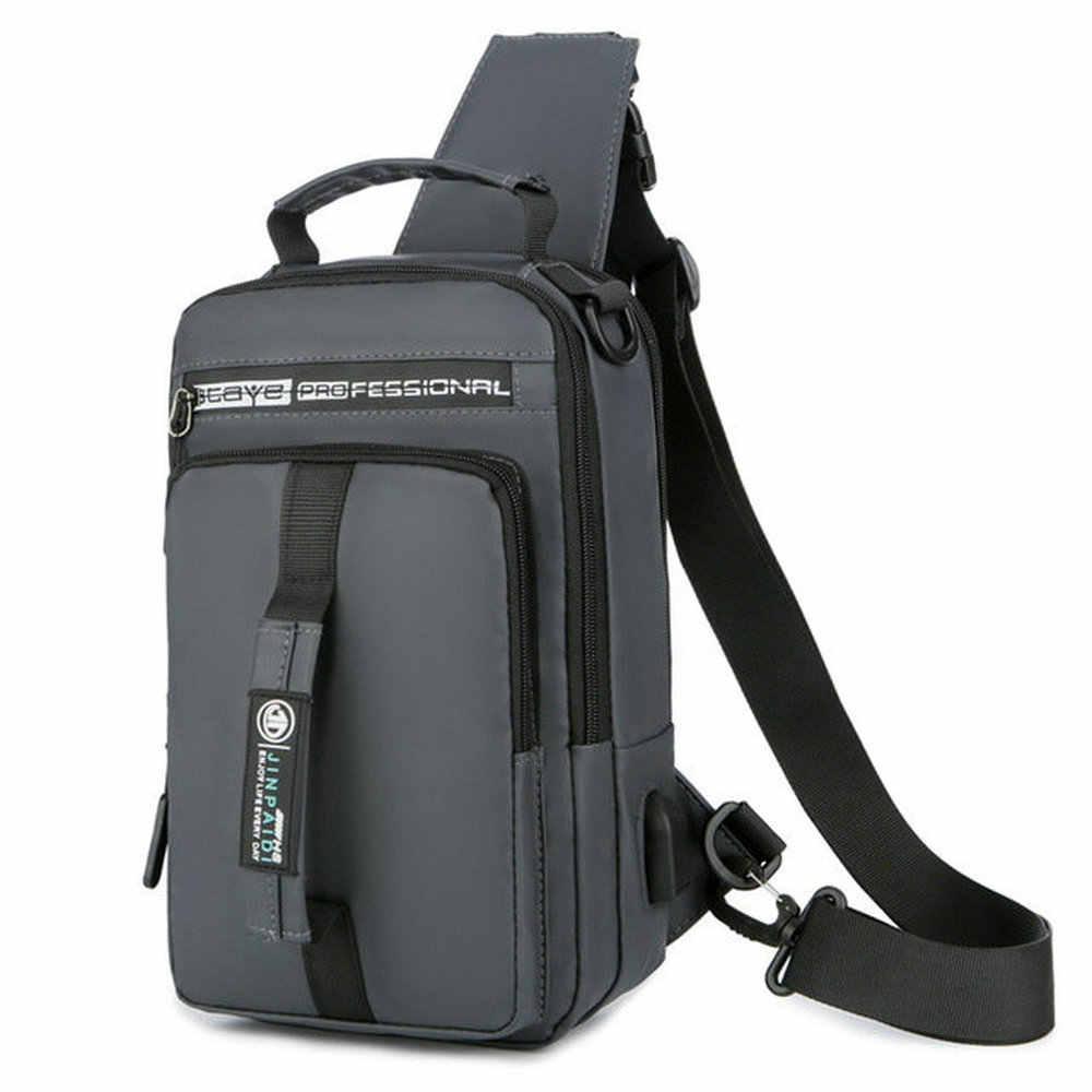 Multifunction New Fashion Trend Men's Chest Bag Smart USB Charging Bright Men Crossbody Bread Bag Casual Handbag B45-37