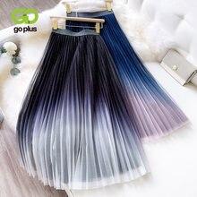 Goplus Лето Для Женщин Марлевая юбка корейский стиль с эластичной