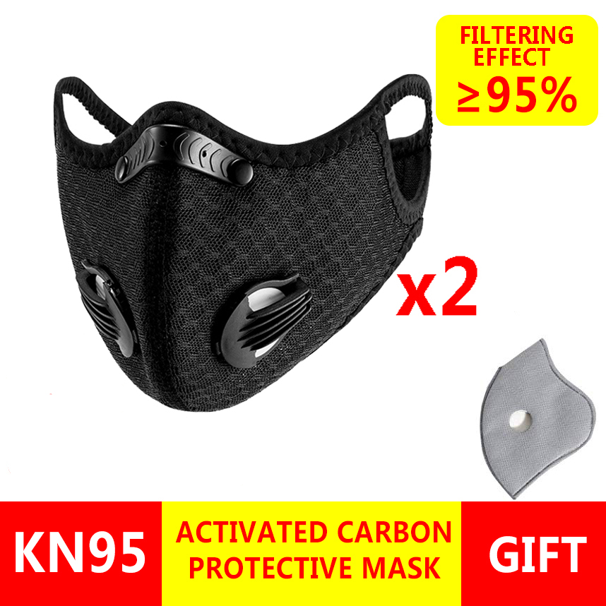 2pcs/Lot KN95 Face Mask 5 Layers Of Protection Carbon Filter Mouth Mask Respirator Mask Anti Dust Reusable Face Masks Washable