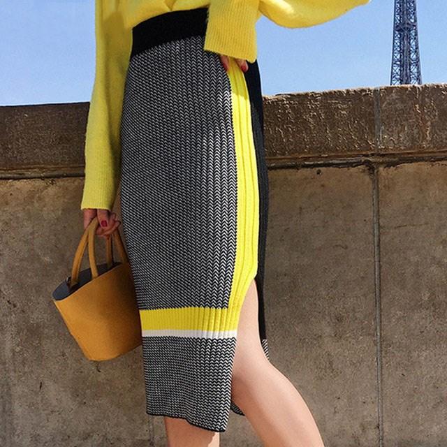 Fall High Street Color Block Bodycon Knit Skirt High Waist Side Split Knee Length Pencil Skirts Patchwork Women Knitwear