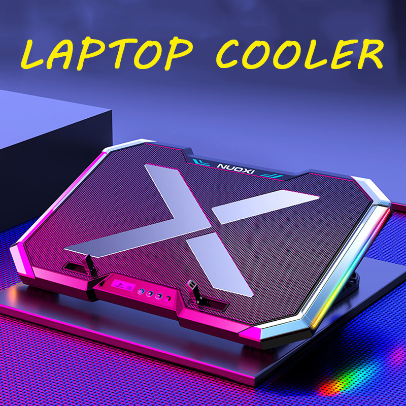 NEW!NUOXI Gaming Laptop Cooler Six Fan Led Screen Two USB Port 2600RPM Laptop Cooling Pad Notebook Stand For Laptop 12-17 Inch