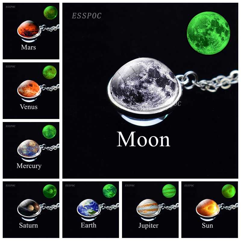 Solar System Eight Planet Necklace Glowing Glass Ball Necklace Moon Earth Mars Sun Art Picture Double Side Glass Ball Necklace