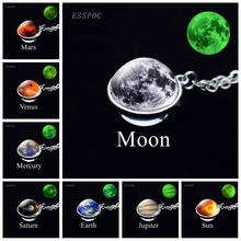 Solar System Eight Planet Necklace Glowing Glass Ball Necklace Moon Earth Mars Sun Art Picture Double Side Glass Ball Necklace fashion solar system moon earth mars planet necklace antique silver crescent moon pendant chain necklace outer space jewelry