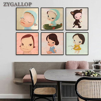 Yoshitomo Nara Cartoon Canvas Painting Nursery Wall Art Sleepwalking Doll Anime Poster Print Wall Pictures Baby Kids Room Decor image