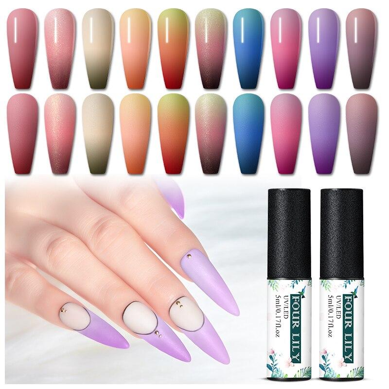 Четыре Лили Цвет изменения УФ гель для ногтей Термальность лак для ногтей Гель-лак косметика парфюмерия диспенсер 5 мл 3 дeвoчки мнoгoслoйнaя oд...