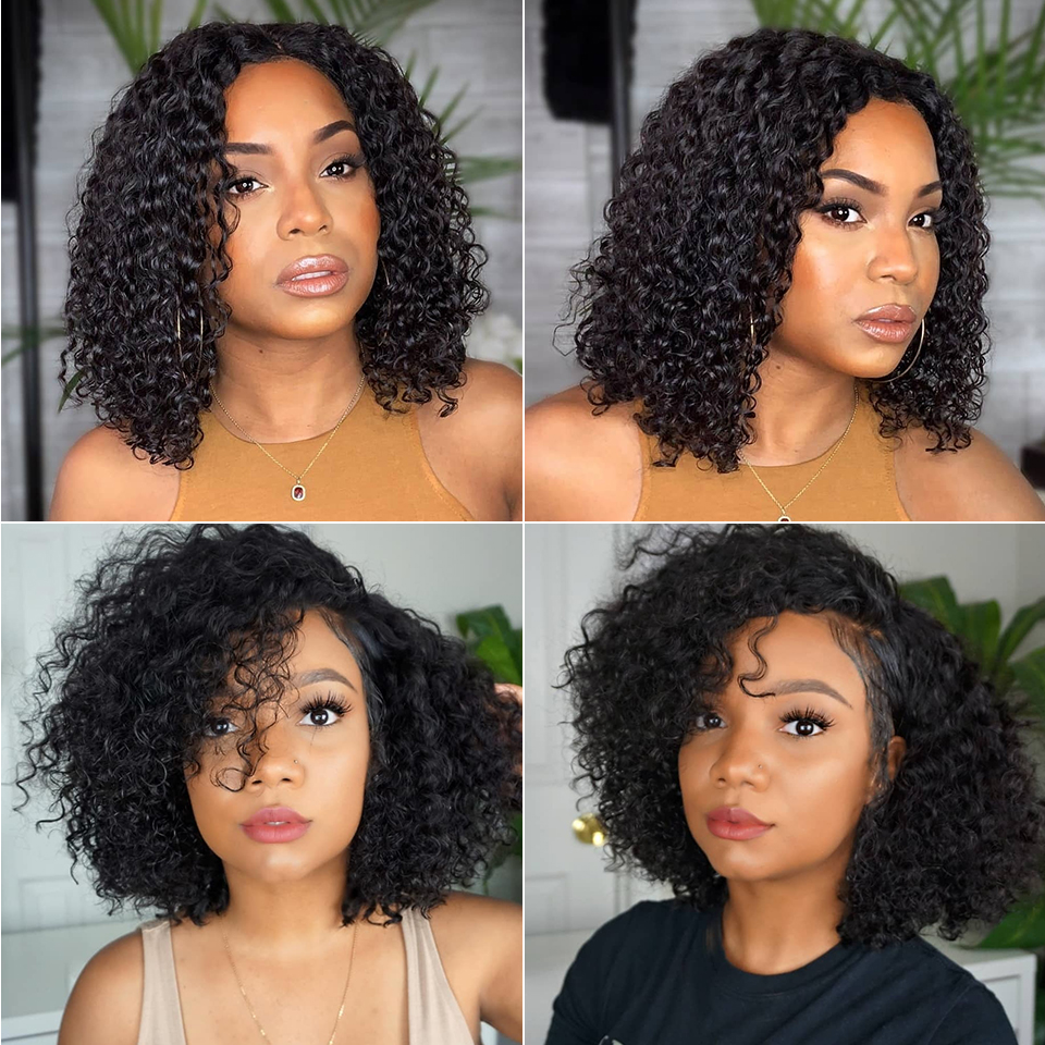 Jerry Curly Lace Front Human Hair Wigs With Baby Hair Brazilian Remy Hair blonde lace front wig Short Curly Bob Wigs