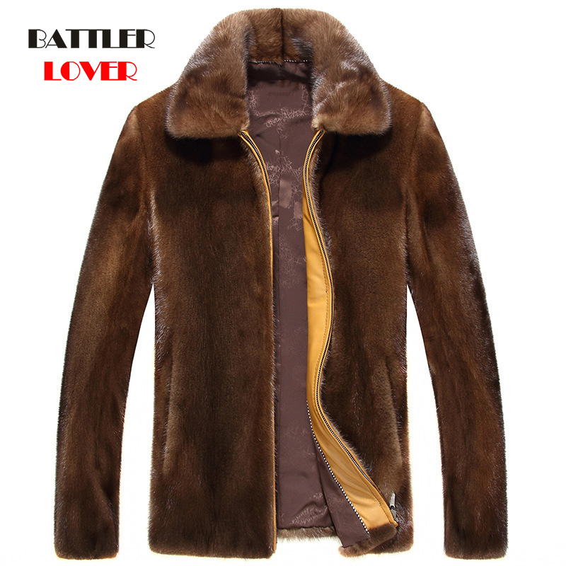 Fashion Men Mink Fur Coat Men Autumn Jackets Winter Warm Soft Real Fur Business Jacket Men's Leather Jacket Males Big Size S-4XL