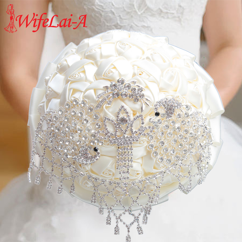 WifeLai-A High Quality Ivory Silk Rose Wedding Bouquet Bride Diamond Holding Flowers Artificial Flower Bridesmaid Bouquet W2031