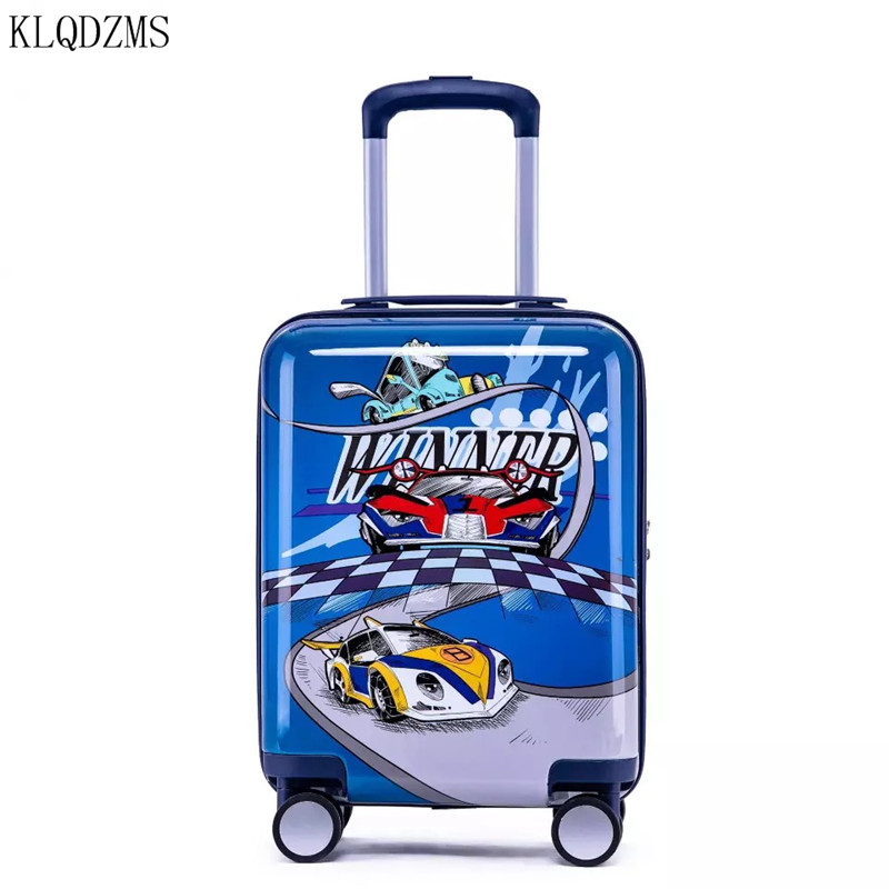 KLQDZMS 18inch Cartoon Trolley Suitcase For Kids Rolling Luggage Spinner Children Travel Bag On Wheels