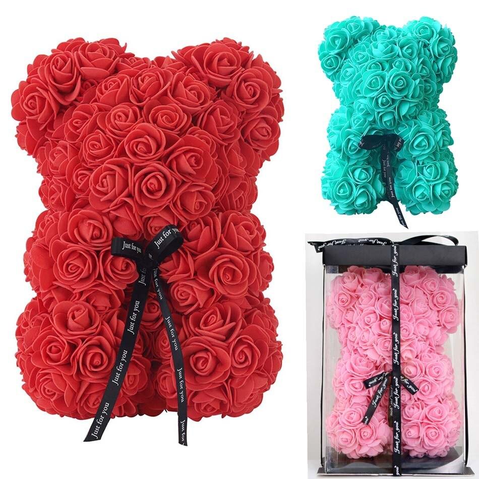 DIY 25 см Мишка Тедди роза с коробкой Искусственные из ПЭ цветок медведь Роза День святого Валентина для девушки женщины жена мать день подарок Искусственные и сухие цветы      АлиЭкспресс