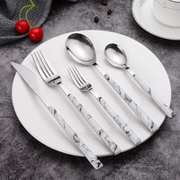 1Pc Edelstahl Geschirr Gehobenen Marmor Griff Silber Westlichen Geschirr Messer Dessert Gabel Löffel Besteck Küche Utensilien