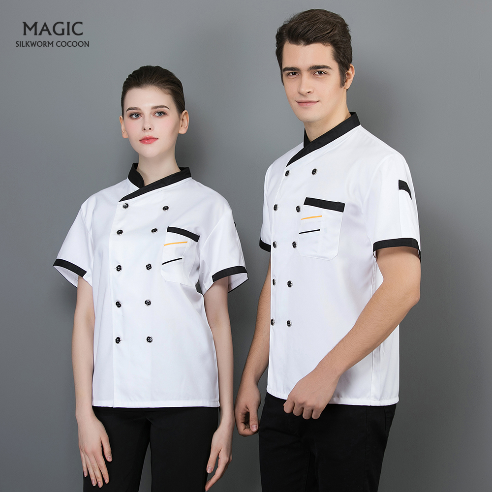 Unisex Food Service Restaurant Hotel Chef Uniform High Quality Chef Jackets Short Sleeved Cotton Breathable Kitchen Work Clothes