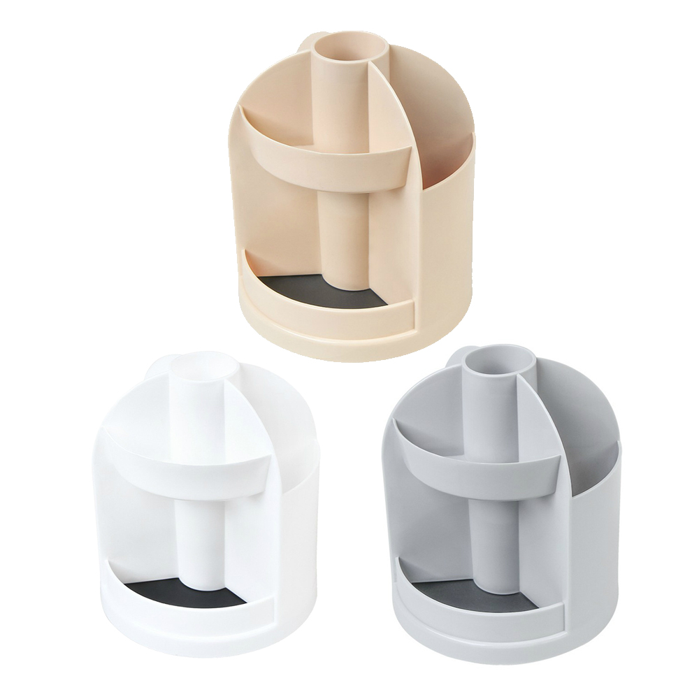 Space Saving Pen Holder Corner Round Pen Holder Desktop Plastic Storage Box Office Supplies Student Storage Tube Rotatable
