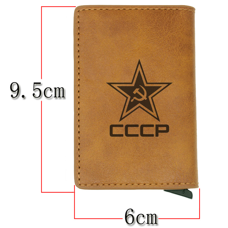 Classic Soviet Union Scythe Hammer CCCP Rfid Card Holder Men Wallets Brown Vintage Short Purse Leather Slim Wallets Mini Wallet