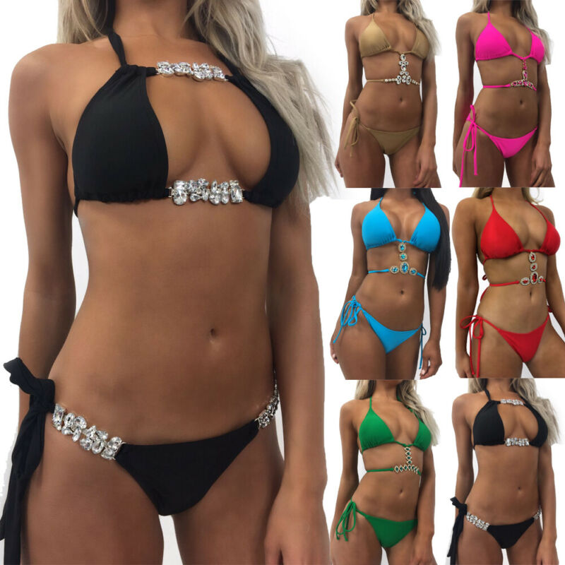 Women's Sequin Rhinestone Crystal Push-up Bikini Swimsuit Brazilian Swimwear Padded Bikini Set